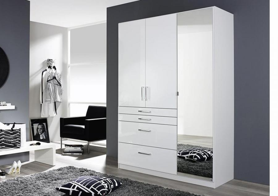 garde robe brillant blanc 136 cm netbed. Black Bedroom Furniture Sets. Home Design Ideas