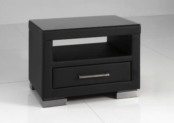 table de chevet lucas noir netbed. Black Bedroom Furniture Sets. Home Design Ideas