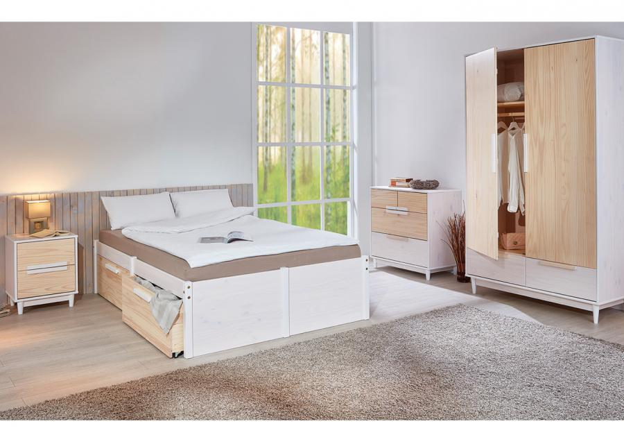 Massief houten bed tina 140 x 200 cm wit incl 1 lattenbodem netbed - Massief houten platform bed ...