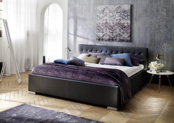 Lit design claudia comfort 160 x 200 cm noir netbed - Lit confortable design ...