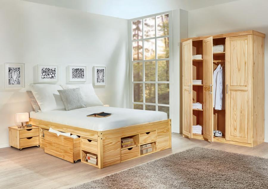 Massief houten bed carlos 140 x 200 cm natuur incl 1 latttenbodem netbed - Massief houten platform bed ...